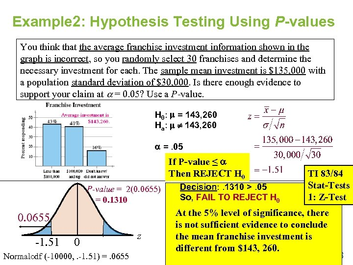 Example 2: Hypothesis Testing Using P-values You think that the average franchise investment information