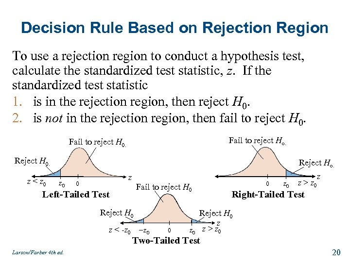 Decision Rule Based on Rejection Region To use a rejection region to conduct a