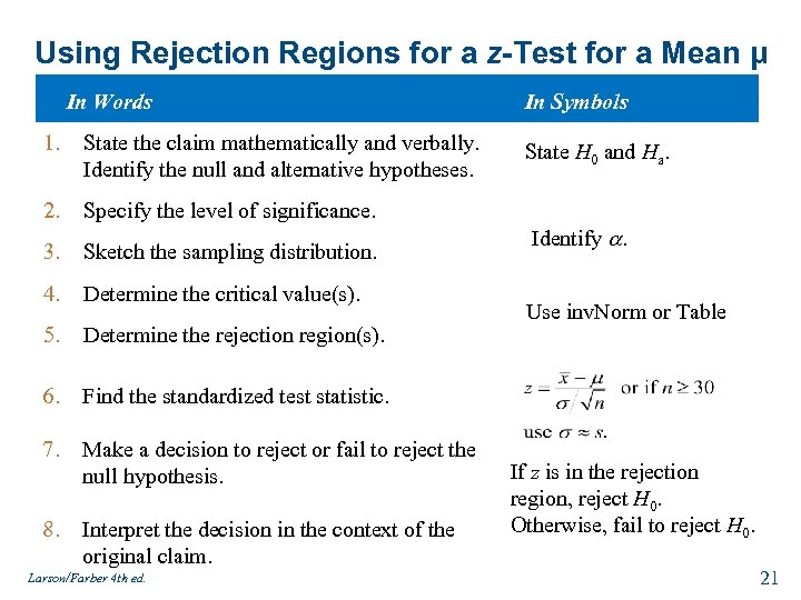Using Rejection Regions for a z-Test for a Mean μ In Words 1. State