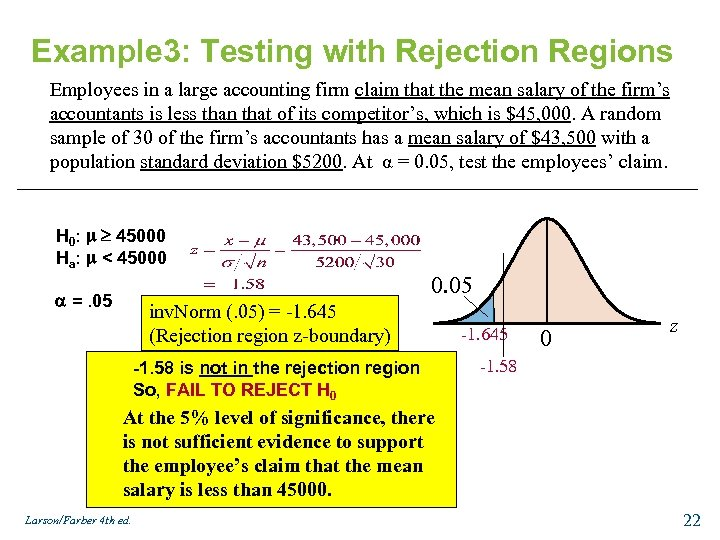 Example 3: Testing with Rejection Regions Employees in a large accounting firm claim that