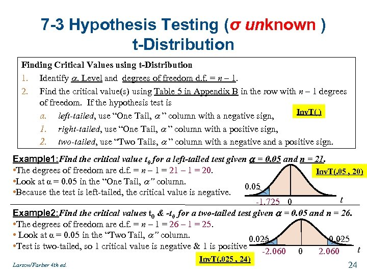 7 -3 Hypothesis Testing (σ unknown ) t-Distribution Finding Critical Values using t-Distribution 1.