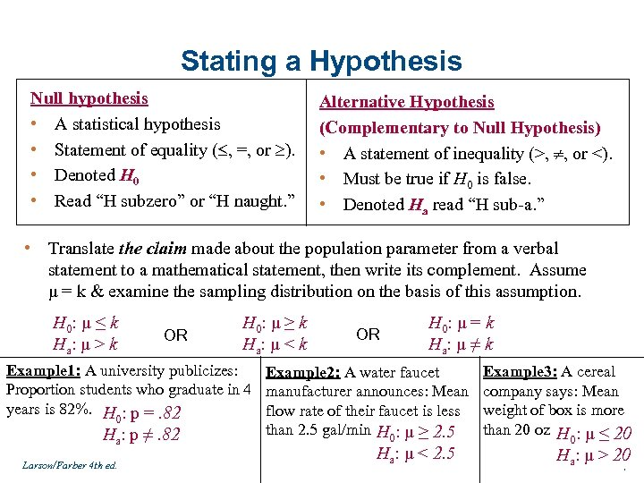 Stating a Hypothesis Null hypothesis • A statistical hypothesis • Statement of equality (