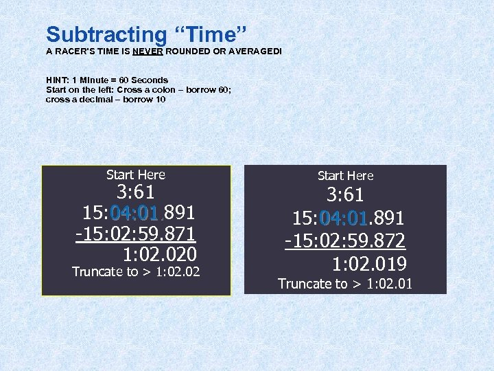 """Subtracting """"Time"""" A RACER'S TIME IS NEVER ROUNDED OR AVERAGED! HINT: 1 Minute ="""