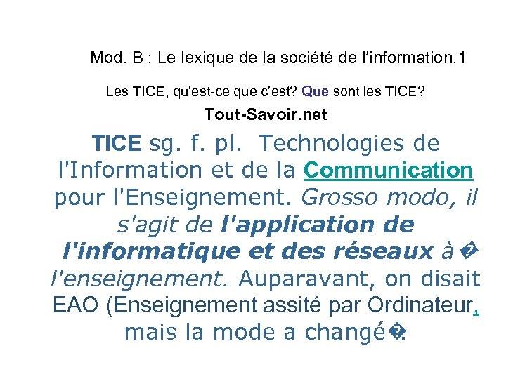 Mod. B : Le lexique de la société de l'information. 1 Les TICE, qu'est-ce
