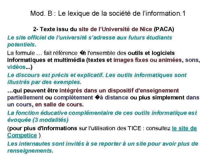 Mod. B : Le lexique de la société de l'information. 1 2 - Texte