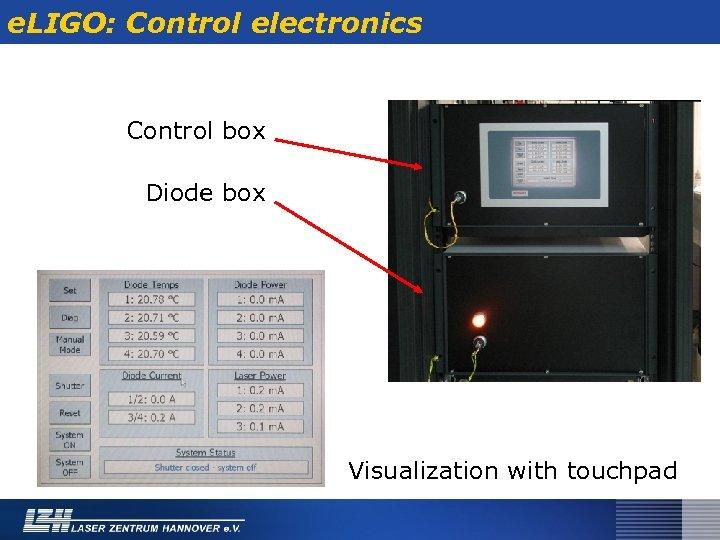 e. LIGO: Control electronics Control box Diode box Visualization with touchpad