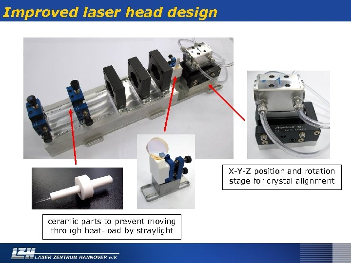 Improved laser head design X-Y-Z position and rotation stage for crystal alignment ceramic parts
