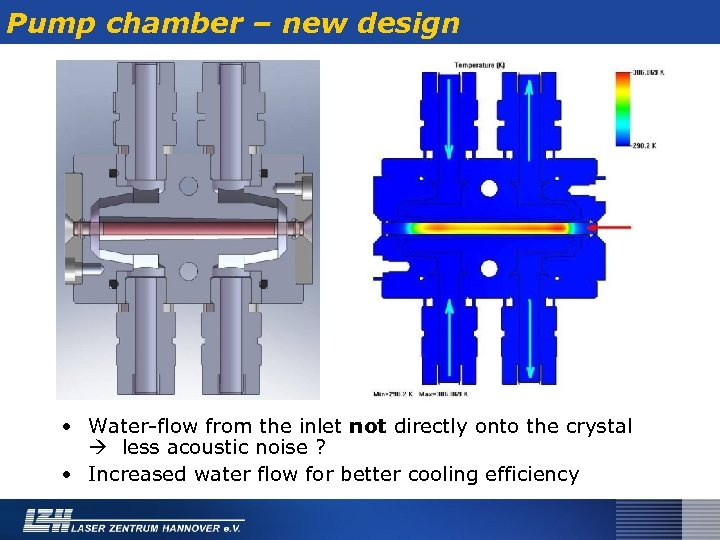 Pump chamber – new design • Water-flow from the inlet not directly onto the