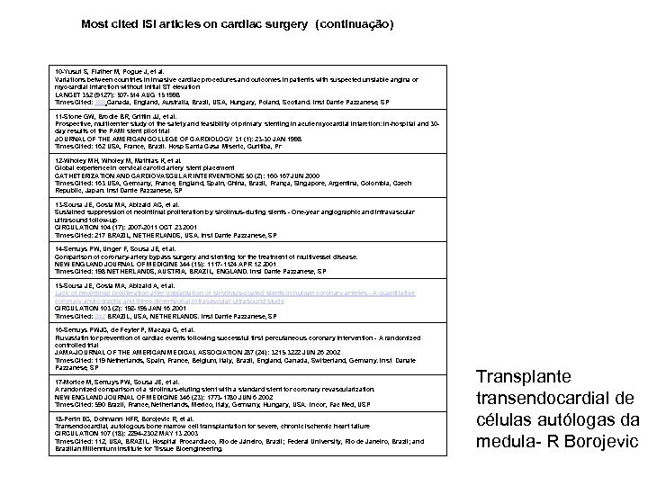 Most cited ISI articles on cardiac surgery ( continuação) 10 -Yusuf S, Flather