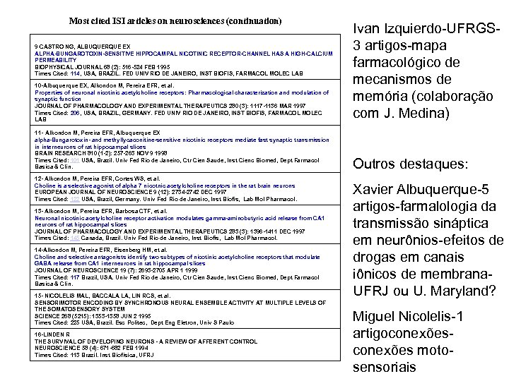 Most cited ISI articles on neurosciences (continuation) 10 -Albuquerque EX, Alkondon M, Pereira EFR,