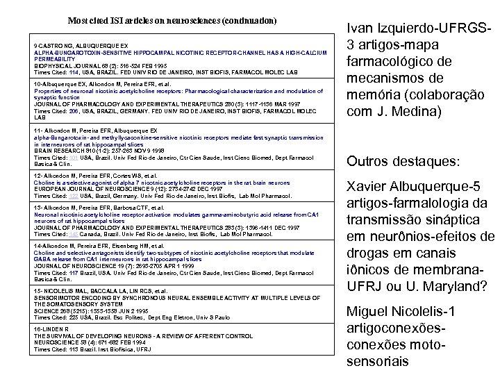 Most cited ISI articles on neurosciences (continuation) 10 -Albuquerque EX, Alkondon M, Pereira EFR,