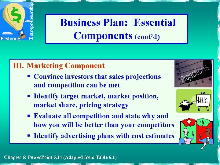 Entrepreneurship Fostering Business Plan: Essential Components (cont'd) III. Marketing Component § Convince investors that