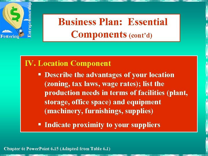 Entrepreneurship Fostering Business Plan: Essential Components (cont'd) IV. Location Component § Describe the advantages