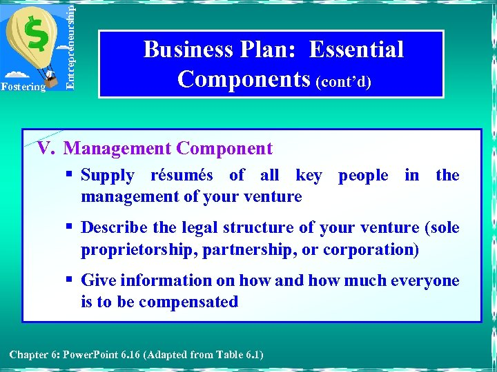 Entrepreneurship Fostering Business Plan: Essential Components (cont'd) V. Management Component § Supply résumés of