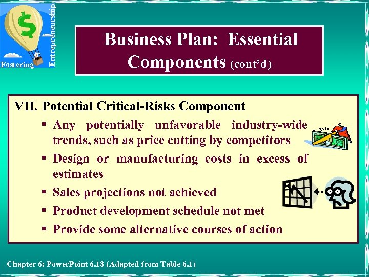 Entrepreneurship Fostering Business Plan: Essential Components (cont'd) VII. Potential Critical-Risks Component § Any potentially