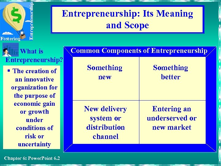 Entrepreneurship Fostering Entrepreneurship: Its Meaning and Scope What is Entrepreneurship? § The creation of