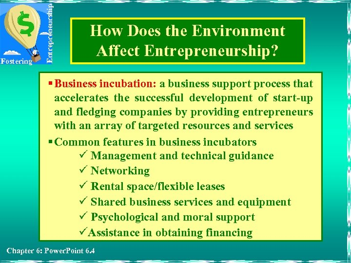 Entrepreneurship Fostering How Does the Environment Affect Entrepreneurship? § Business incubation: a business support