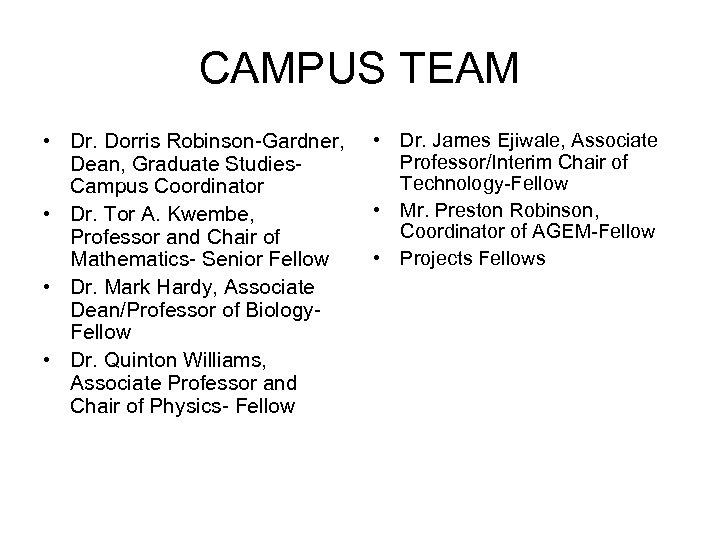 CAMPUS TEAM • Dr. Dorris Robinson-Gardner, Dean, Graduate Studies. Campus Coordinator • Dr. Tor
