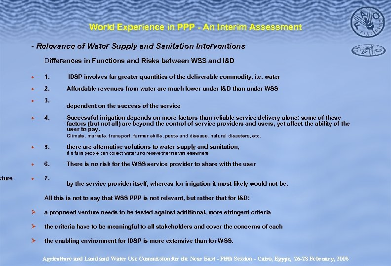cture World Experience in PPP - An Interim Assessment - Relevance of Water Supply