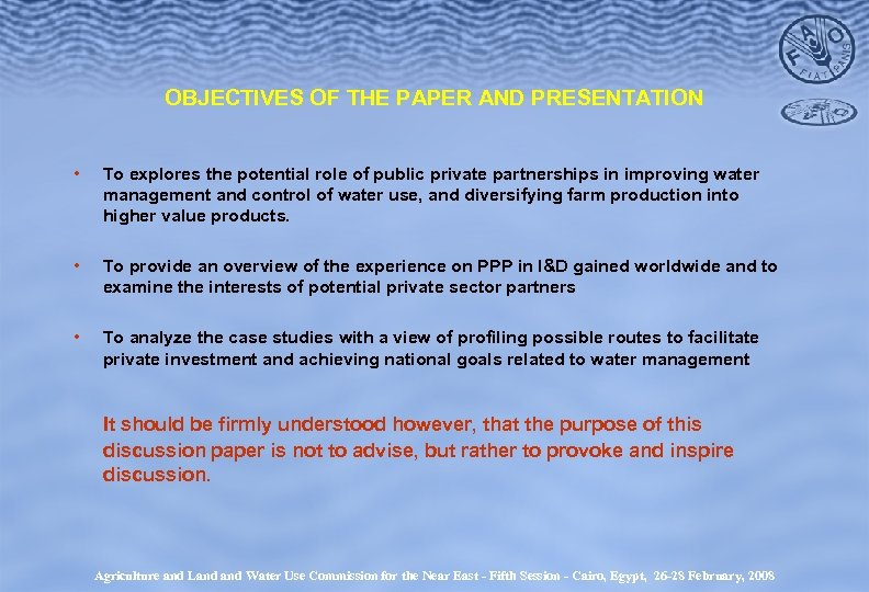 OBJECTIVES OF THE PAPER AND PRESENTATION • To explores the potential role of public