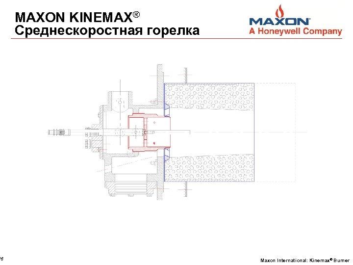 16 MAXON KINEMAX® Среднескоростная горелка Maxon International: Kinemax® Burner