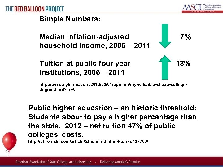 Red Balloon Project Simple Numbers: Median inflation adjusted 7% household income, 2006 – 2011