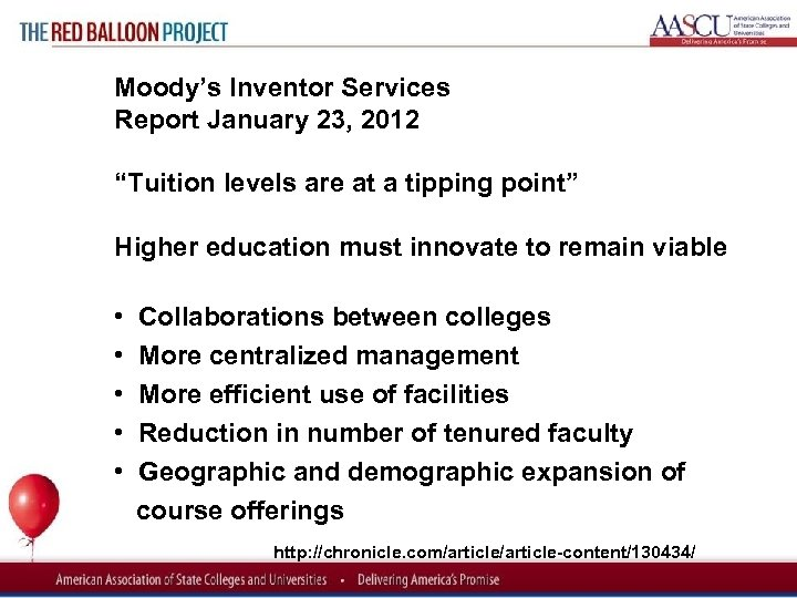 "Red Balloon Project Moody's Inventor Services Report January 23, 2012 ""Tuition levels are at"