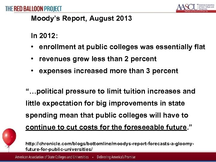 Red Balloon Project Moody's Report, August 2013 In 2012: • enrollment at public colleges