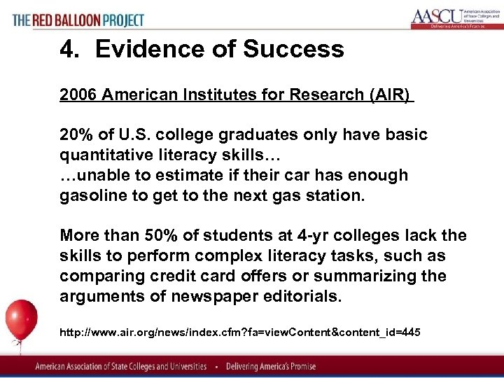 Red Balloon Project 4. Evidence of Success 2006 American Institutes for Research (AIR) 20%