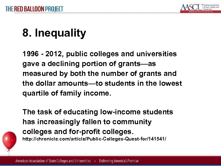 Red Balloon Project 8. Inequality 1996 2012, public colleges and universities gave a declining
