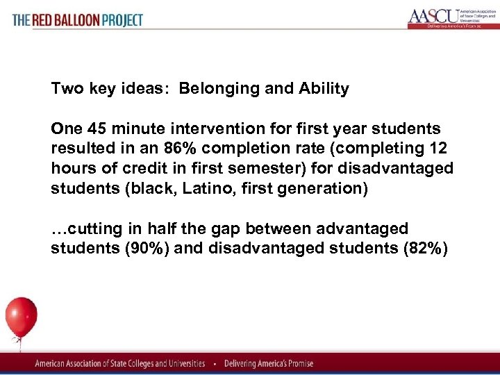 Red Balloon Project Two key ideas: Belonging and Ability One 45 minute intervention for