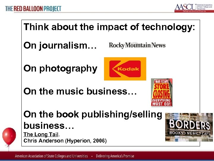 Red Balloon Project Think about the impact of technology: On journalism… On photography On