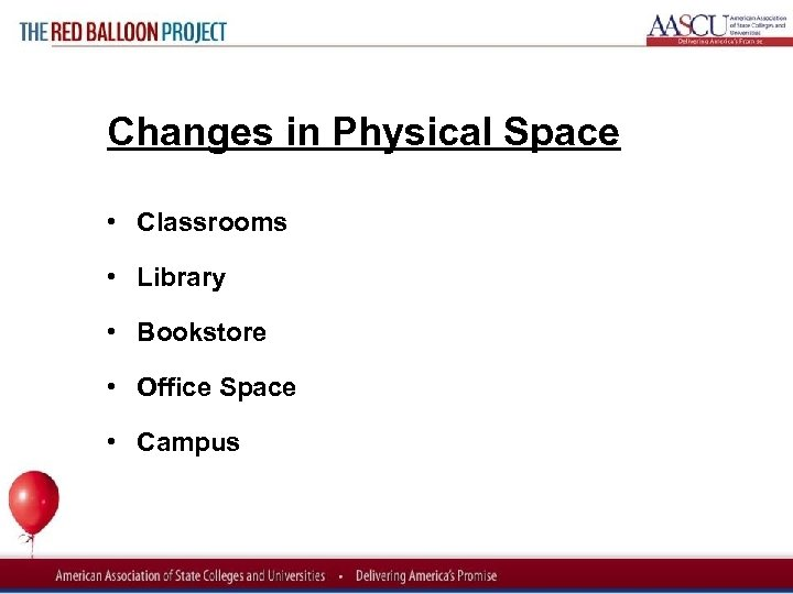 Red Balloon Project Changes in Physical Space • Classrooms • Library • Bookstore •