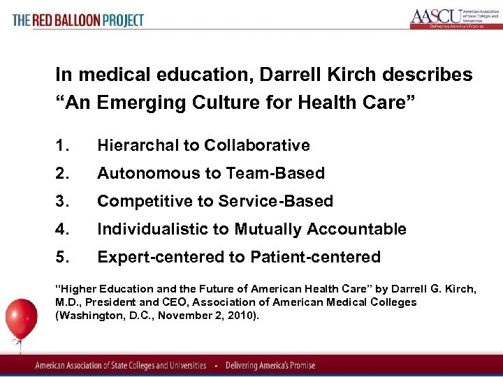 "Red Balloon Project In medical education, Darrell Kirch describes ""An Emerging Culture for Health"