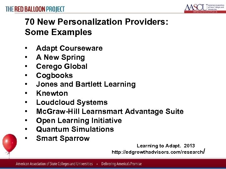 Red Balloon Project 70 New Personalization Providers: Some Examples • • • Adapt Courseware