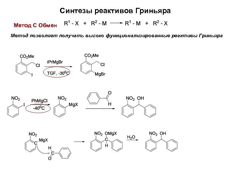 Синтезы реактивов Гриньяра Метод С Обмен Метод позволяет получать высоко функционализированные реактивы Гриньяра