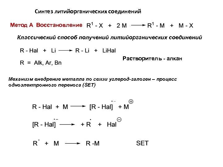 Синтез литийорганических соединений Метод А Восстановление Классический способ получений литийорганических соединений Растворитель - алкан