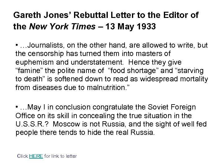 Gareth Jones' Rebuttal Letter to the Editor of the New York Times – 13