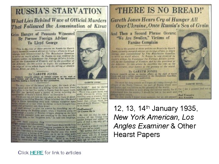 12, 13, 14 th January 1935, New York American, Los Angles Examiner & Other