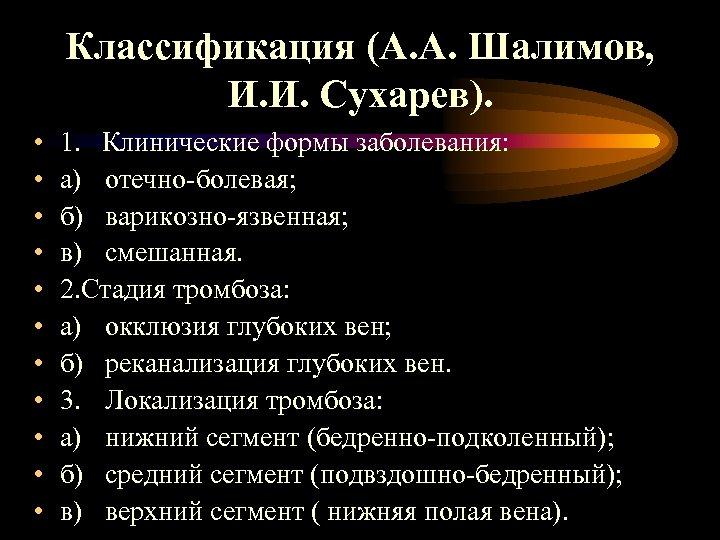 Классификация (А. А. Шалимов, И. И. Сухарев). • • • 1. Клинические формы заболевания: