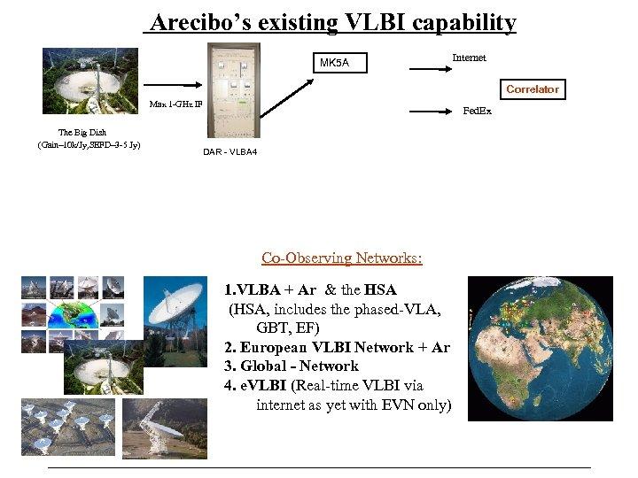 Arecibo's existing VLBI capability MK 5 A Internet Correlator Max 1 -GHz IF The