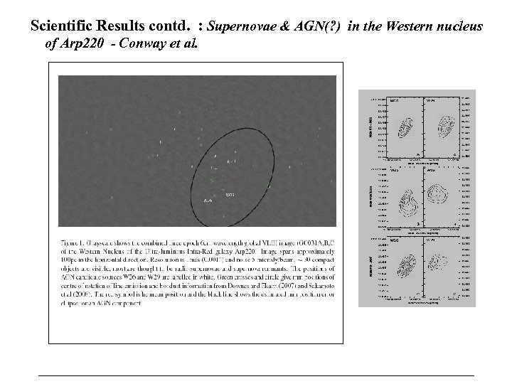 Scientific Results contd. : Supernovae & AGN(? ) in the Western nucleus of Arp