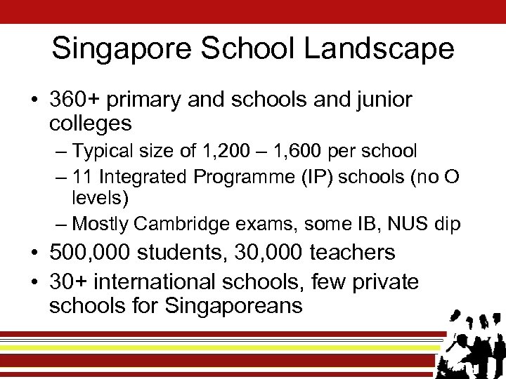 Singapore School Landscape • 360+ primary and schools and junior colleges – Typical size