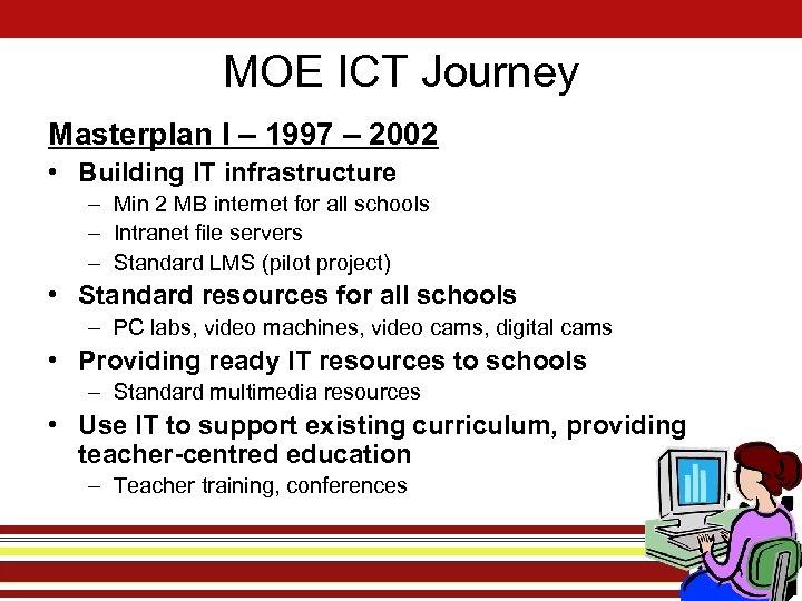 MOE ICT Journey Masterplan I – 1997 – 2002 • Building IT infrastructure –