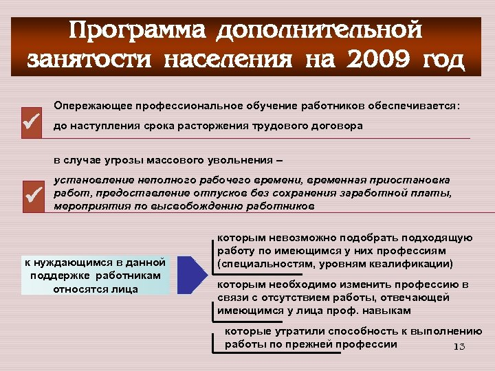 Программа дополнительной занятости населения на 2009 год Опережающее профессиональное обучение работников обеспечивается: до наступления