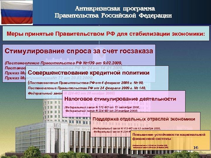 Антикризисная программа Правительства Российской Федерации Меры принятые Правительством РФ для стабилизации экономики: Стимулирование спроса