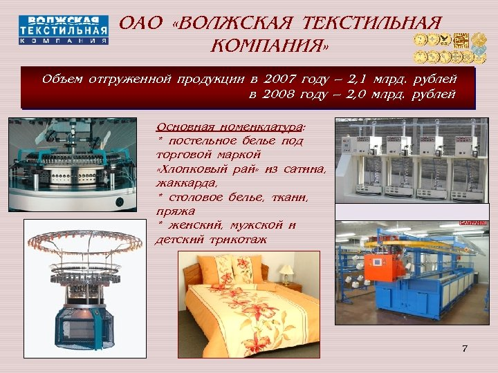 ОАО «ВОЛЖСКАЯ ТЕКСТИЛЬНАЯ КОМПАНИЯ» Объем отгруженной продукции в 2007 году – 2, 1 млрд.