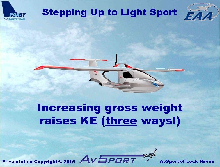 Stepping Up to Light Sport Increasing gross weight raises KE (three ways!) Presentation Copyright