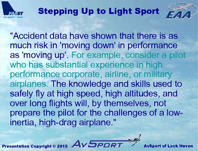 Stepping Up to Light Sport