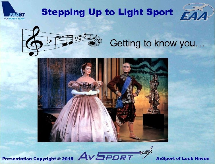 Stepping Up to Light Sport Getting to know you… Presentation Copyright © 2015 Av.